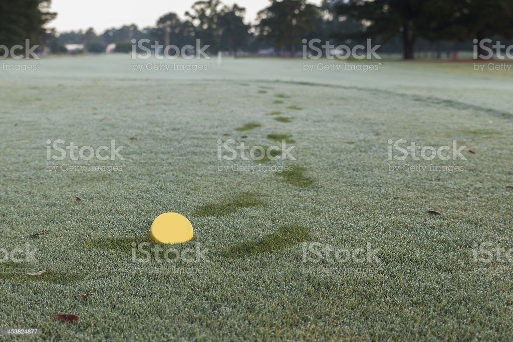 Yellow Tee on Golf Course Hole stock photo