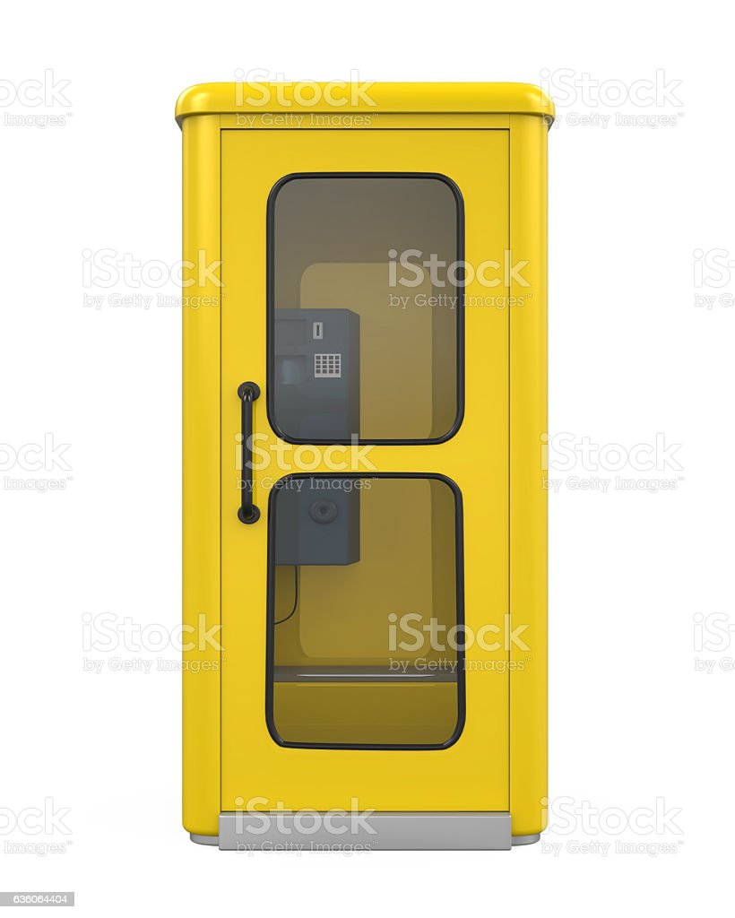 Yellow Telephone Booth stock photo