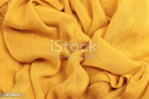 Yellow textile fabric texture background, pattern