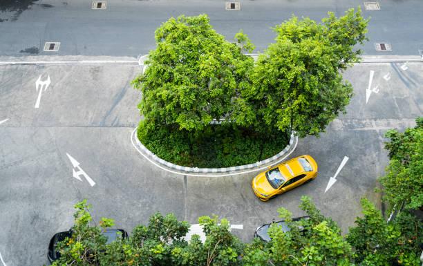 Yellow Thai taxi cab stock photo