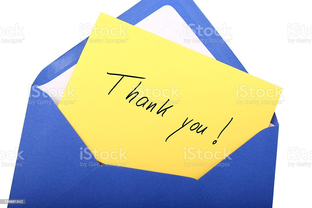 Yellow thank you card and blue envelope Digital photo of a blue envelope with a letter with the words thank you. Blue Stock Photo