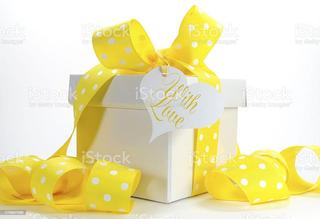 Yellow Theme Gift Box On White Background Stock Photo More