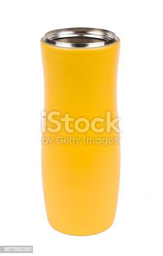 467147506 istock photo Yellow thermo mug isolated on white 937565250