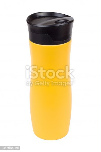 467147506 istock photo Yellow thermo mug isolated on white 937565256