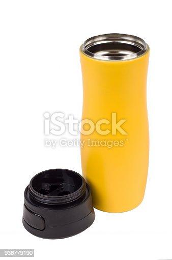 467147506 istock photo Yellow thermo mug isolated on white 938779190
