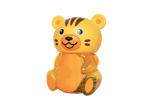 istock Yellow tiger : piggy bank on white background 529983432