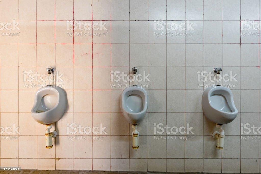Yellow tile bathroom stock photo