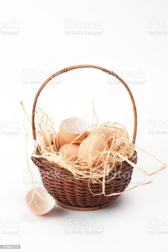 yellow, tiny fluffy chickens in the Easter basket on a white background stock photo