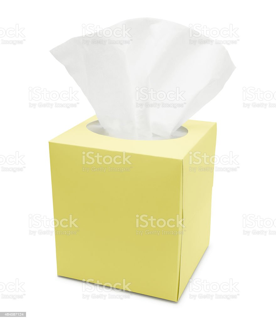 Yellow Tissue Paper Box (with path) stock photo