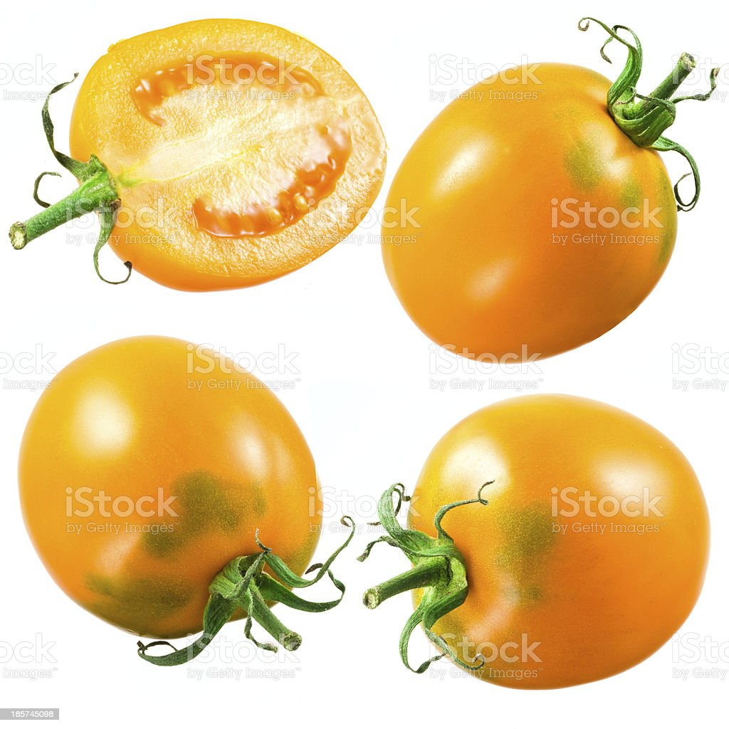 Yellow tomato. Set isolated on white background stock photo