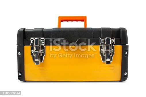 Yellow toolbox with orange arm grip isolated on white background front view.