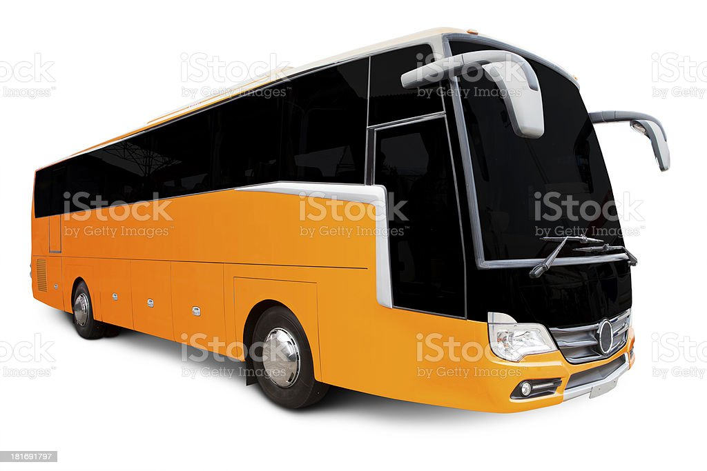 Yellow Tour bus stock photo