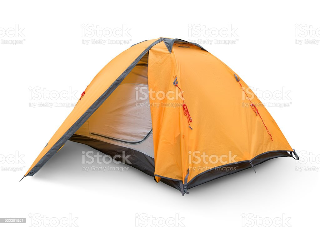 Yellow tourist tent stock photo