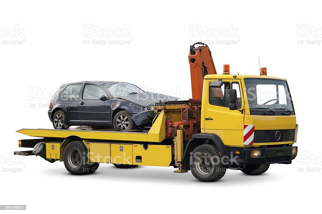 Yellow tow truck stock photo