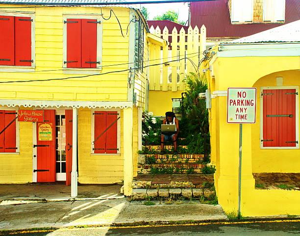 Yellow Town stock photo