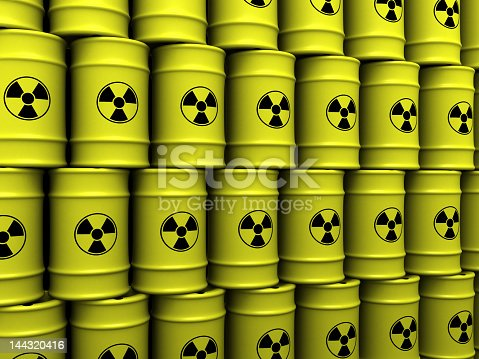 istock Yellow toxic waste barrels stacked on top of each other 144320416