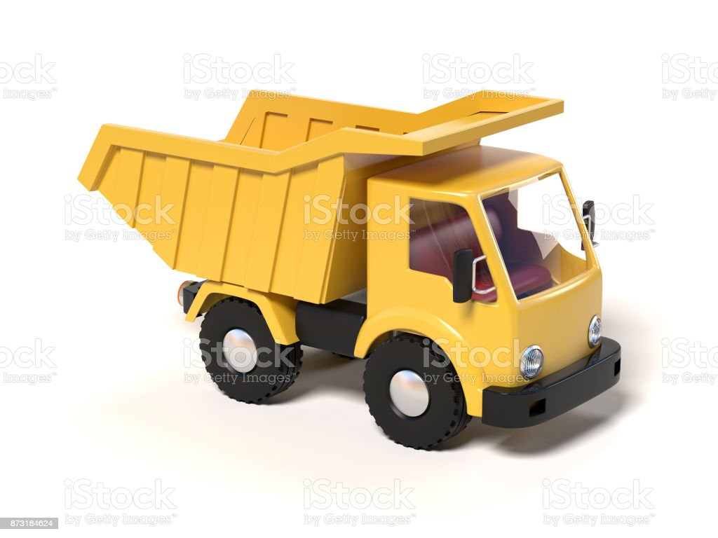 Yellow toy dump truck on a white background 3d rendering stock photo
