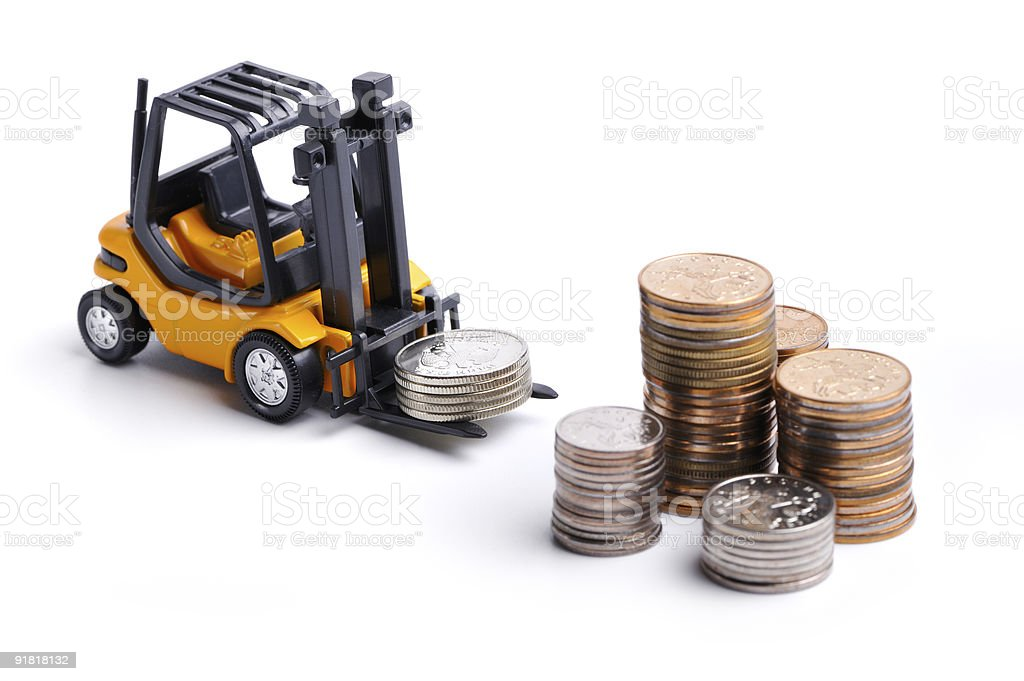 Yellow toy forklift and money royalty-free stock photo