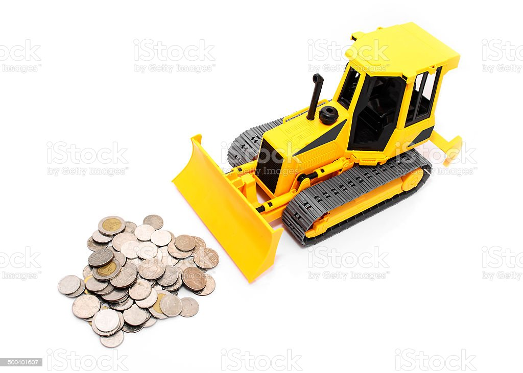 Yellow  tractor and coins isolated over white background stock photo