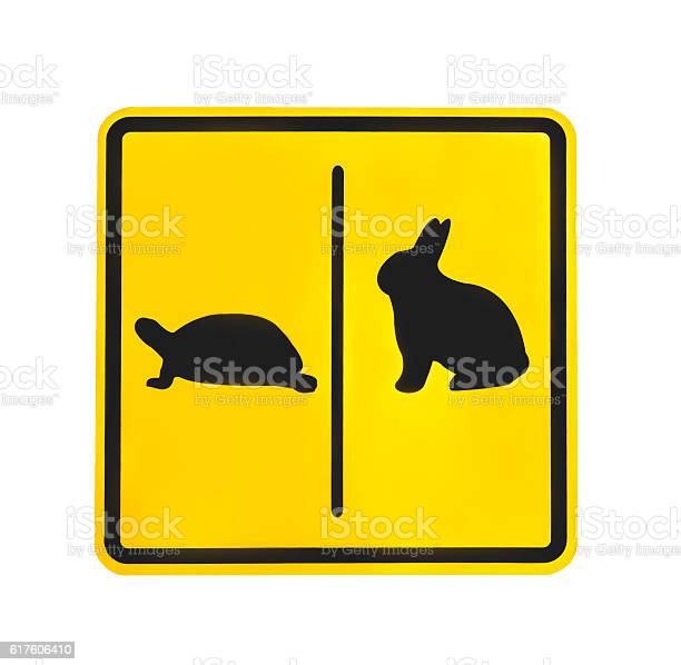 Yellow traffic label turtle and rabbit pictogram isolated picture id617606410?b=1&k=6&m=617606410&s=612x612&h=wb dass ugt9yslablvz8nltcygo pbwvhk39rdgu0w=