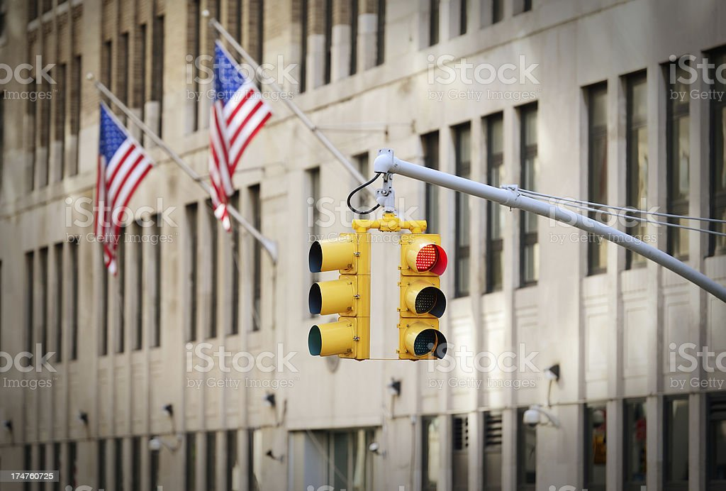 Yellow traffic lights in NYC royalty-free stock photo