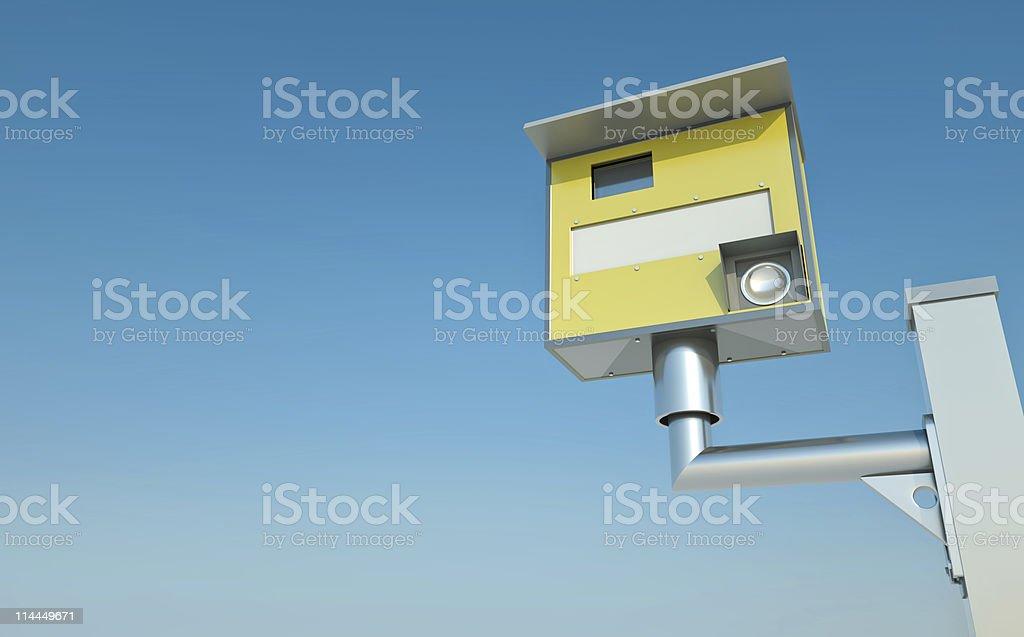 Yellow traffic speed camera stock photo