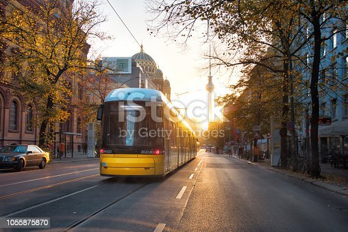 yellow train at early morning in Berlin Oranienburger Strasse