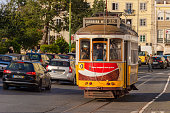 Lisbon, Portugal - 2 March 2020: Famous yellow Tram 28 in Baixa district