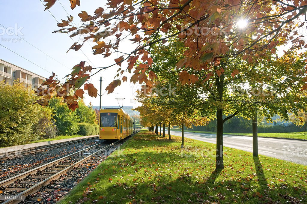 Yellow tram in autumn, city Gera, Thuringia Germany stock photo