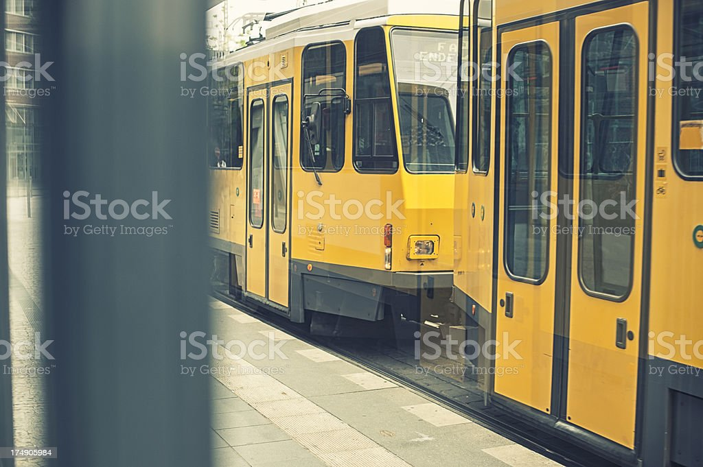 Yellow tram in Berlin royalty-free stock photo