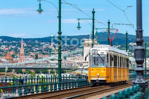 istock Yellow tram in Budapest 958193536