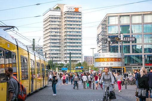 Yellow tram in central Berlin at Alexanderplatz