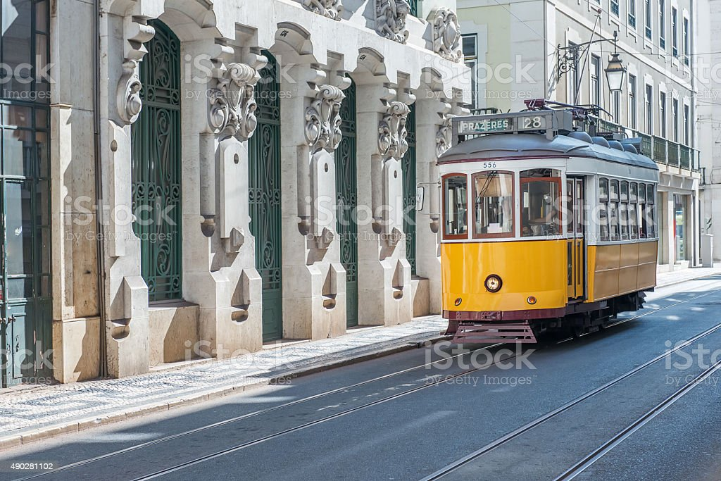 Yellow tram in Lisbon stock photo