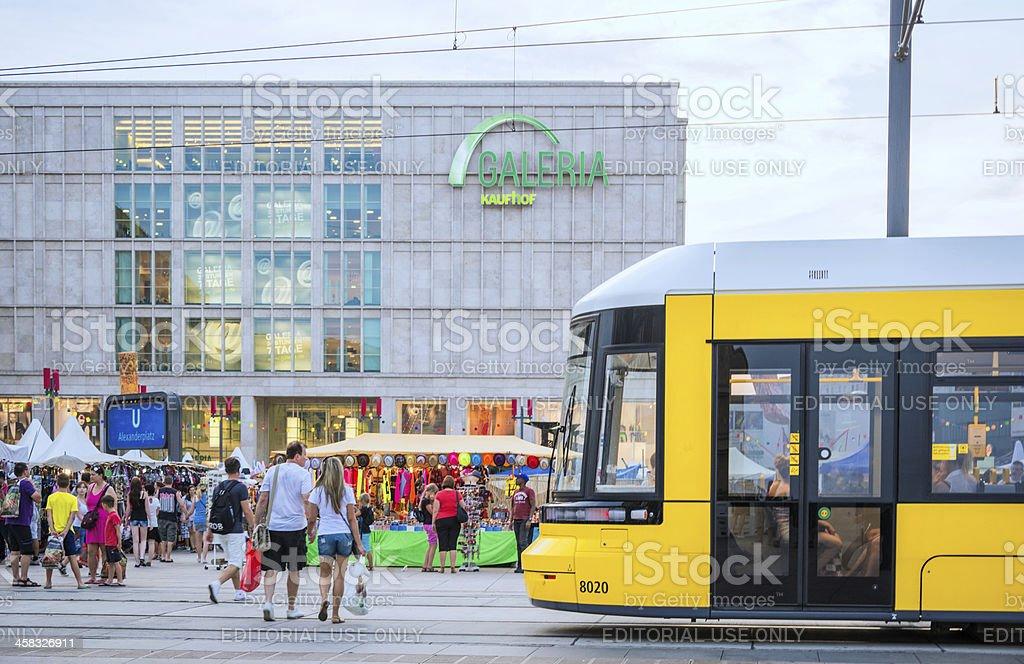 Yellow tram on the Alexanderplatz royalty-free stock photo