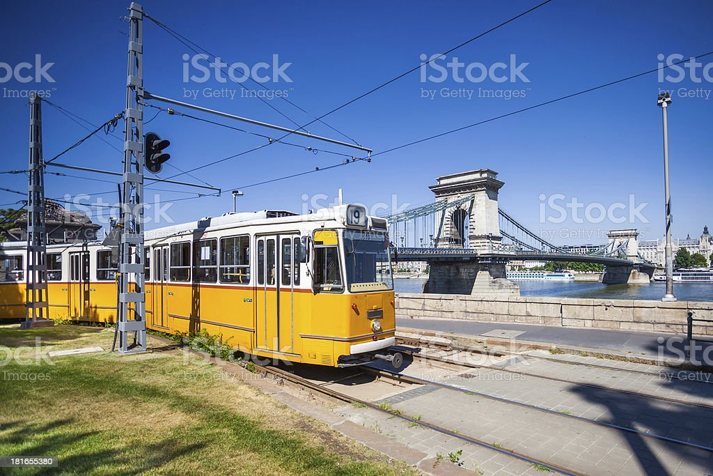 Yellow tram on the river bank of Danube in Budapest royalty-free stock photo