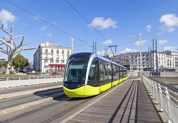 yellow tram on the street of brest, france - spårvagn bildbanksfoton och bilder