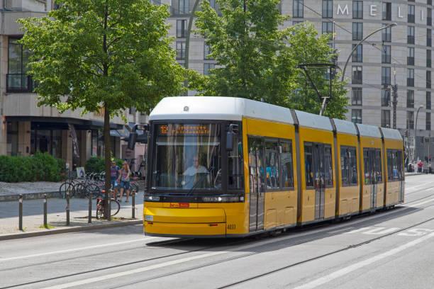 Yellow tramway in Berlin stock photo