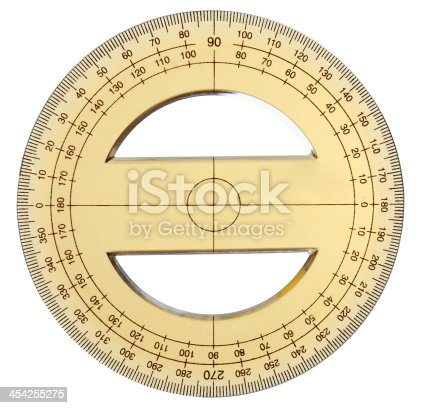 istock Yellow transparent protractor 454255275