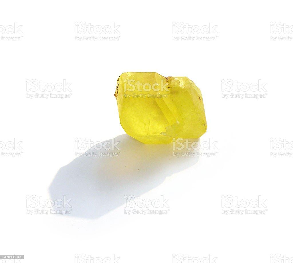Yellow Transparent Sulphur/Sulfur Crystal stock photo