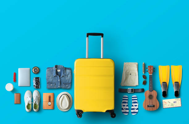 Yellow travel bag stock photo