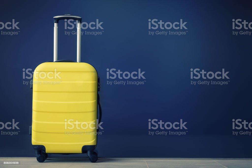 Yellow travel bag. stock photo