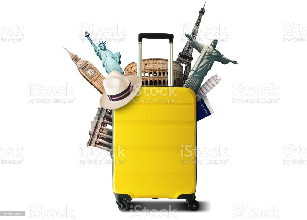 Yellow travel bag - Royalty-free Airplane Stock Photo
