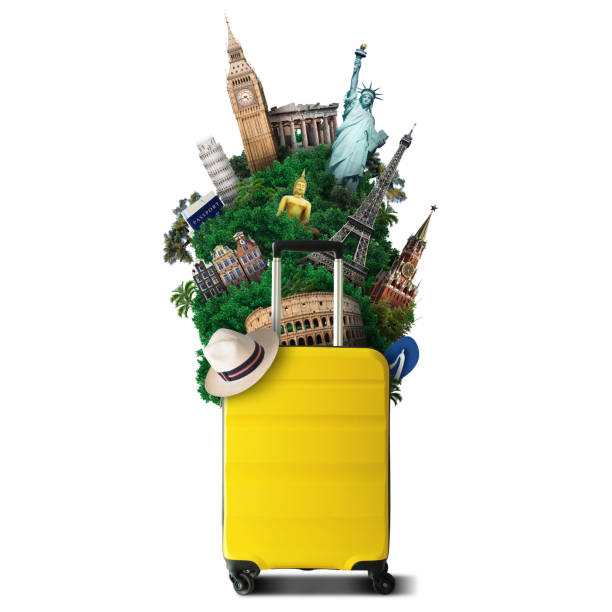 Yellow travel bag with world landmark stock photo