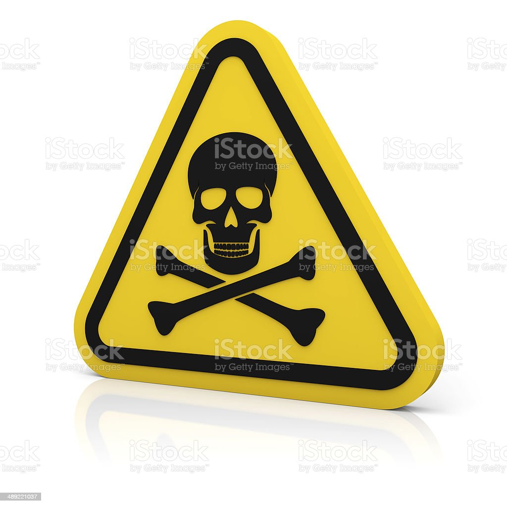 Yellow triangle warning deadly sign royalty-free stock photo