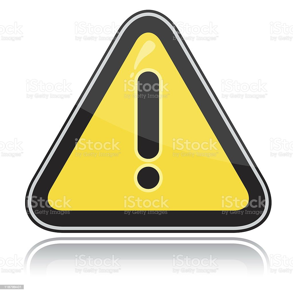 Yellow triangular other dangers warning sign stock photo