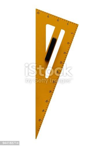 istock yellow triangular ruler isolated on white background 944183714