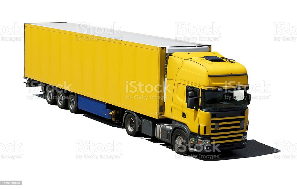 Yellow truck isolated on white royalty-free stock photo
