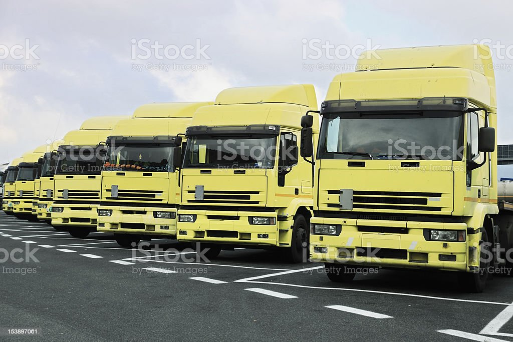 yellow trucks stock photo
