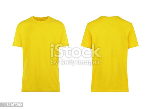 yellow t-shirt, front and back view, clothes on isolated white background