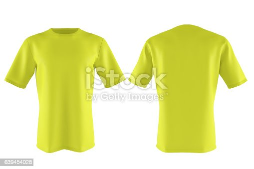 istock yellow T-shirt isolated on white. 3d render 639454028